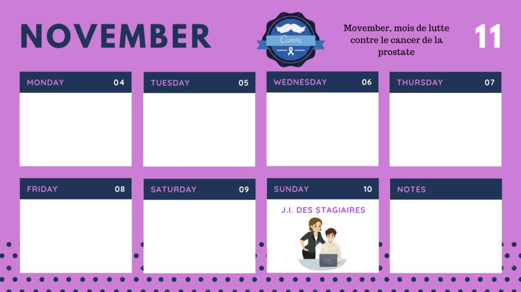 Calendrier Novembre 2