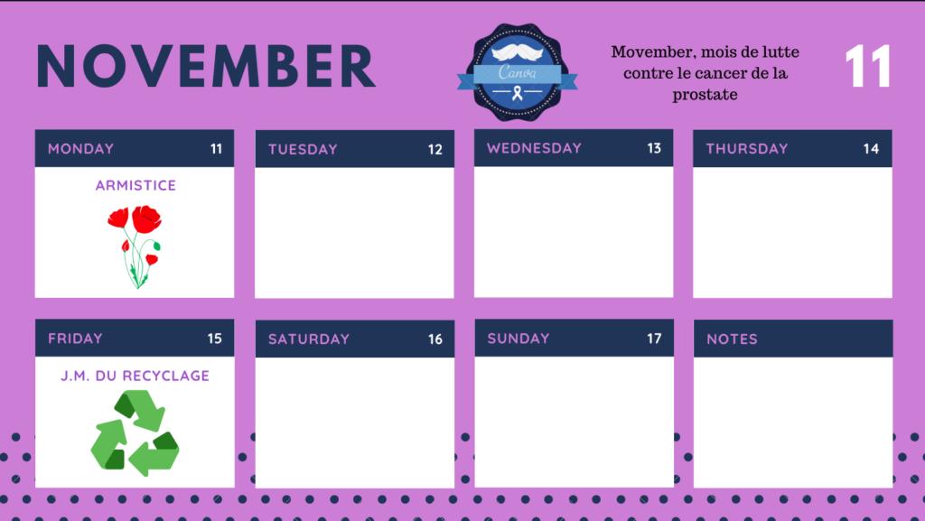 Calendrier Novembre 3